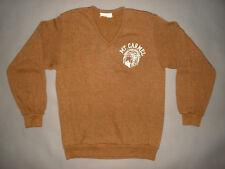 Vinage 1980s MT CARMEL HIGH SCHOOL V NECK SWEATER Chicago Rayon sweatshirt MED