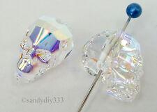 1x SWAROVSKI 5750 Clear Crystal AB 13mm SKULL SPACER BEAD CRYSTAL