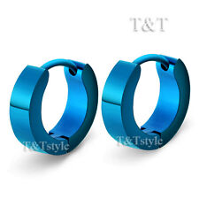 TRENDY T&T Plain Blue Stainless Steel Hoop Earrings EH01F(4x9)