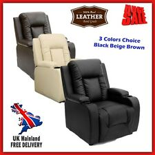Recliner Cinema Chair TV Gaming Chaise Sofa Real Leather Seat Cup Holder Lumbar