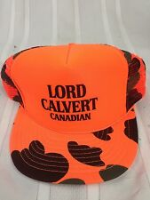 VTG Lord Calvert Canadian Whiskey Trucker Hat Cap Snapback Orange Camo Hunt Mesh
