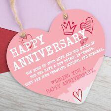 Wedding Anniversary Gift Metal Heart Hanging Sign Happy Anniversary Gifts