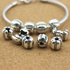 10pc/lot 3mm Hole Antique Silver Clip Lock Snap Stopper Beads For Bracelet DIY