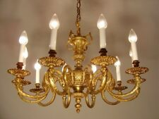 brass chandelier old fixtures ceiling lamp rare ornaments pocal 10 lights Ø 32""