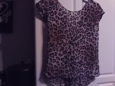 Used Womens Topshop Size 8 Chiffon Floaty Leopard Print Top