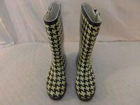 Adult Women's Merona Tan Black 8 Rubber Mid Calf Rain Winter Boots 33674