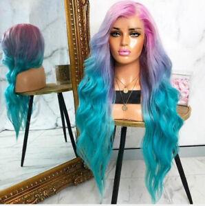 Women's Ombre Lolita Rainbow Pink Purple Blue Long Wave Mixed Wig Heat Safe