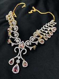 Amethyst Zircon Stones On Gold Plated Sterling Silver Base Necklace And Earrings
