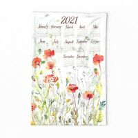 Spoonflower Tea Towel Calendar Red Field Poppy Watercolor Organic Linen Cotton