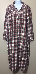 Vintage LL Bean Womens XL Plaid Cotton Flannel Nightgown Long Modest Christmas