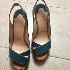 christian louboutain green wedge shoes authentic size 37/usa 7 In Good Condition