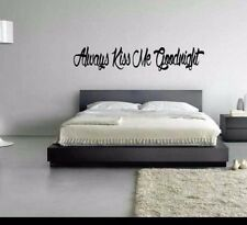 Always Kiss Me Goodnight Home Vinyl Decal For Bedroom Wall or Mirror Decor