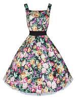 Vintage Style 40's 50's Satin Rose Garden Full Circle Swing Jive Dress BNWT 8-18