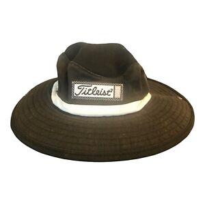 Titleist Solid Black White Golf Bucket Hat 100% Cotton Size M/L