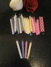 37 STRIPED MULTI COLOURED BIRTHDAY CAKE CANDLES