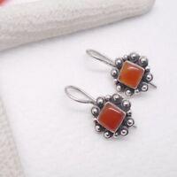 Karneol orange rot eckig Blüte Design Ohrringe Ohrhänger 925 Sterling Silber neu