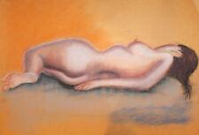 IMPRESSIONIST NUDE FEMALE PORTRAIT PASTEL PAINTING