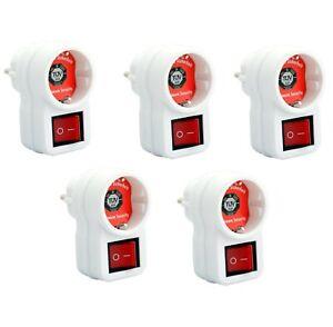 1-5x Steckdosenschalter schaltbare Steckdose beleuchteter Zwischenstecker Schuko