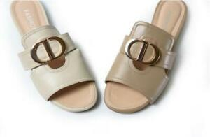 Women's Genuine Leather Buckle Slippers Shoes Sandals Flats Beige Summer 2020