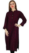 Women Nehru Collar Rayon Kurta Kurti Printed Long Sleeve Tuic US-6 EX-E181A