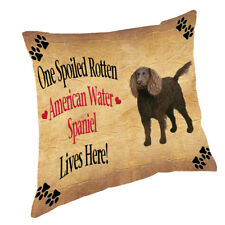 American Water Spaniel Spoiled Rotten Dog Throw Pillow 14x14