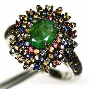 NATURAL GREEN EMERALD & FANCY CLR SAPPHIRE RING 925 STERLING SILVER SIZE 6.75