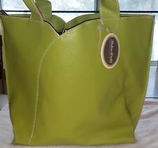 Mellow World Sz Large Leather Green & Pink Tote Handbag w/ Removable Leather Tas