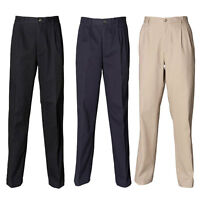 New HENBURY Mens Teflon Coated Pleated Chino Trouser in 3 colours 30- 44 S/R/L/U