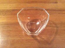 MODERNIST Signed TIFFANY & CO CRYSTAL GLASS TRIANGLE PANELED BOWL Large Size