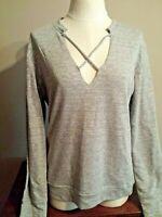 ELAN Women's Shirt Top  Cross Front  Long Sleeves, Gray  size M ~ $62.00 NEW