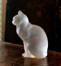 "Lalique France Chat Assis ""Sitting Cat"" Excellent Condition Signed & Authentic"