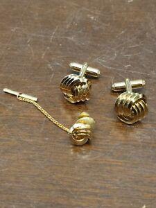Vintage Anson Cufflinks & Tie tack Set Spiral Design Gold Color