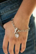 Paparazzi Jewelry pink heart rhinestone center silver frame toggle Bracelet nwt