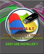 WINDOWS 10, 8, 7 ALL VERSIONS USB Multi Boot Installer 64-Bit PC or LAPTOP.