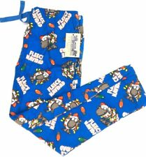 Men Pajama Bottoms Sleepwear Lounge Pants Size L Blue Christmas Fleece Navidad