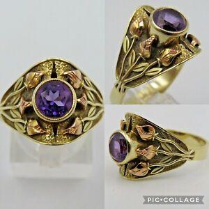 Gold 585/14 Karat Ring mit Amethyst in Handarbeit gefertigt (e)3