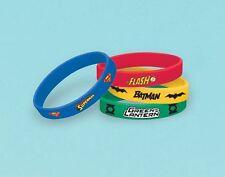 4pk Justice League Rubber Bracelets DC Comic Birthday Party Loot Bag Favours