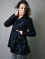 Free People Women Sz 4 Brocade Swing Coat Jacket Velvet Blue Black S Newsroom