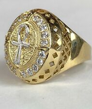 Men's 14k Yellow Soild Gold Chunky Big Cross ring Mens fine Jewelry
