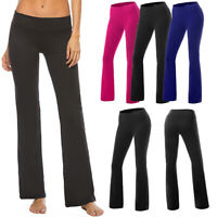Womens Flare Leg High Waiste Yoga Pants Stretch Wide Bootcut Gym Sports Leggings