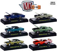 DETROIT MUSCLE 6 CARS SET RELEASE 34 W/CASES 1/64 DIECAST M2 MACHINES 32600-34