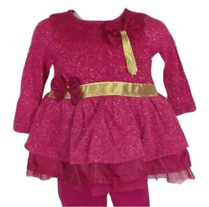 Girls 2pc Pink Outfit Size 6M Months Shirt Leggings Gold Bows Glitter Top Pants