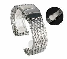 18/20/22/24mm Silver Men Mesh Stainless Steel Bracelet Watch Band Replacement