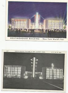 2 WESTINGHOUSE ELECTRIC & MFG. BLDG.- NY WORLD'S FAIR 1939  POSTCARDS- UNUSED