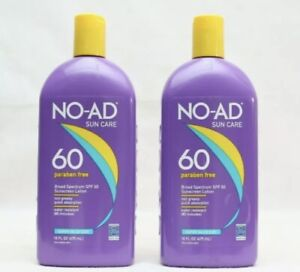 2 Pack NO-AD Sun Care SPF 60 Sunscreen Lotion Paraben Free 16oz EXP 2022