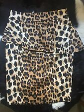 ZARA Leopard Print Asymmetrical Peplum Skirt Sz XS