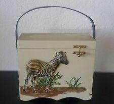 RETRO Vintage WOOD BOX PURSE HAND BAG Zebra Elephant Leopard 3D Raised Decoupage