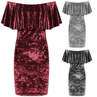 Ladies Plus Size Off  Shoulder Crushed Velvet Frill Bardot Womens Bodycon Dress