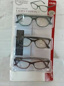 Design Optics by Foster Grant Full Frame Ladies Fashion Readers +3.00 NEW