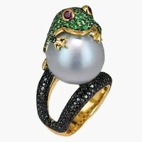 Frog with Pearl 925 Silver Jewelry Engagement Wedding Ring Size 6-10 Cocktail